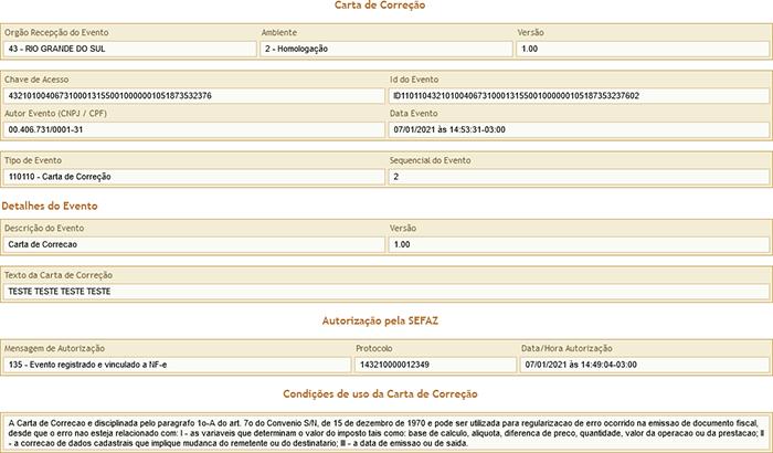 carta de correção consulta gestão cr sistemas e web linko comercial