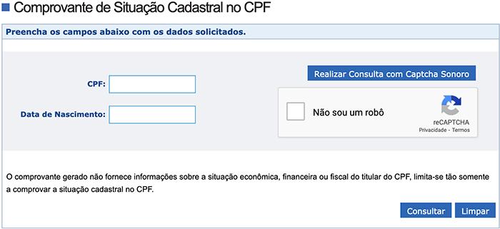 cpf consultar situação cr sistemas e web